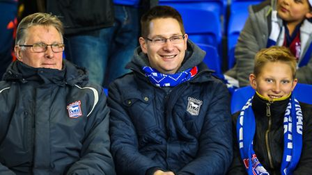 Supporters at Ipswich Town v Middlesbrough at Portman Road. Picture: Steve Waller.