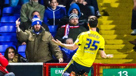 Town fans react as David Nugent celebrates his goal in front of them during the Ipswich Town v Middl