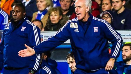 Town manager Mick McCarthy waves his players forward as time runs out for Town in the Ipswich Town v