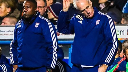 Town manager Mick McCarthy scratches his head as time ticks away in the Ipswich Town v Derby County
