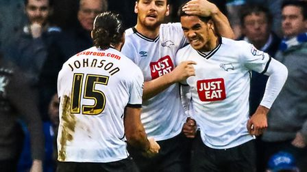 Thomas Ince celebrates his goal in the Ipswich Town v Derby County (Championship) match at Portman R