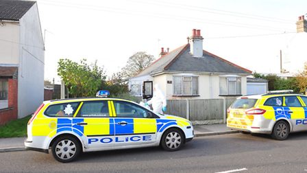 The house on Kirkley Run, Lowestoft,cordoned off after the body of a man was found
