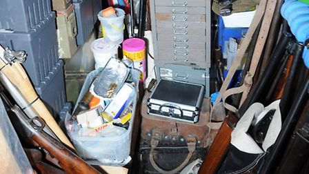 Weapons in the home of James Arnold in Wyverstone, Suffolk, where the biggest hoard of illegal weapo