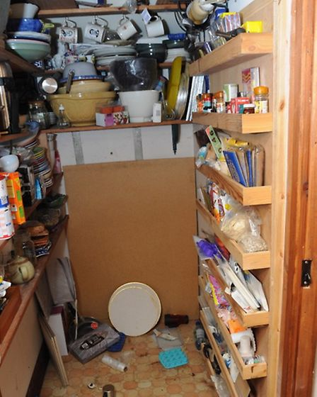 The pantry at the home of James Arnold in Wyverstone, Suffolk, where the biggest hoard of illegal we