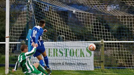 Brantham's Sean Gunn opens the scoring in the first minute
