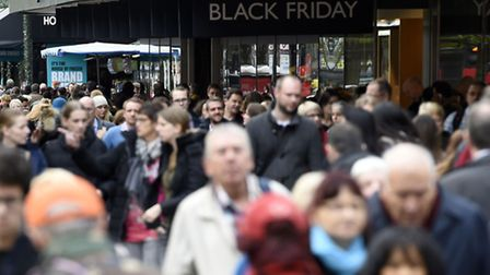 Shoppers in Oxford Street, London, on Black Friday. Photo: Lauren Hurley/PA Wire