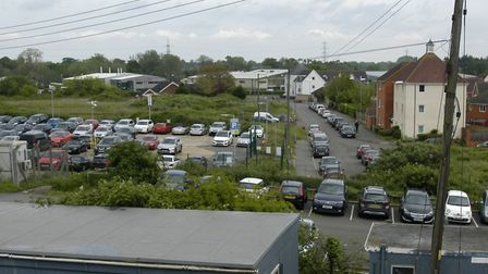 Nelson Road with the site of the proposed new care home to the left, as seen from Diss Station. Pict