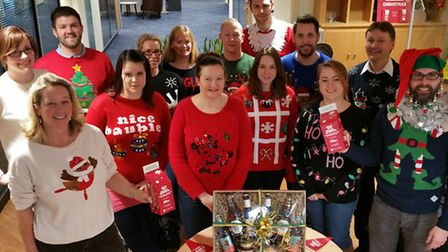 Greene King staff in Bury St Edmunds in their festive jumpers.