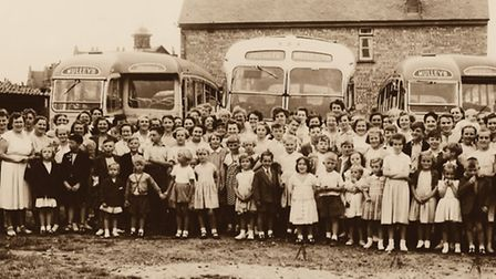 The Priors Inn trip to Walton on the Naze in 1955. Author Martyn Taylor is the third child from the