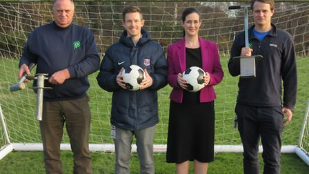 From left, Tim Parker, Nathan French, Karen Proctor and Will Parker at the launch of Suffolk FA's Gr
