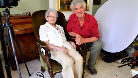96-year-old Margaret Taylor being interviewed by Paul Heiney of her memories of Orford for a DVD bei