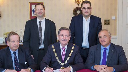 Memorandum of Understanding signed in support of Beaulieu Railway Station. (L-R) (front) Councillor