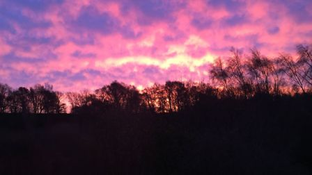 The sunrise over Ipswich this morning