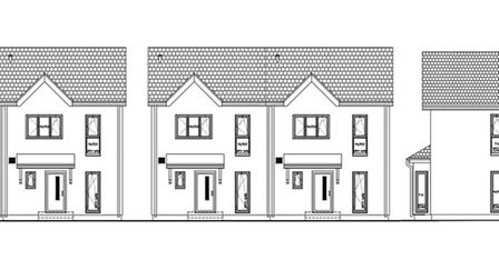 Illustration of new homes being proposed for the site of Scole Engineering, as seen from Diss Road.