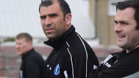 Bury Town manager Ben Chenery, left, who has been named the Ryman North Division Manager of the Mont