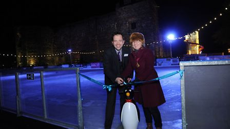 The official opening of the ice rink and Winter Wonderland in Colchester's Castle Park. Deputy mayor