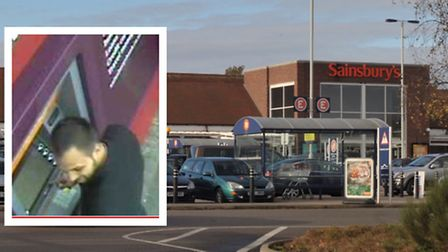 Man, inset, wanted over distraction thefts at Sainsbury's