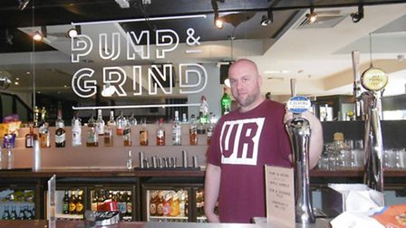 Tom Kerridge at Pump & Grind, the new cafe, bar and venue at the corner of Northgate Street and Grea