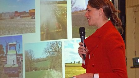Dennington farmer Laura Rous addressing delegates at a sugar quota meeting for growers supplying the
