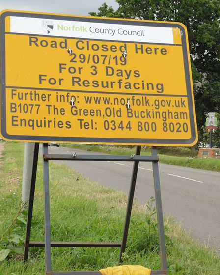 The B1077 will be closed for periods for work to build a new pedestrian crossing in Old Buckenham. P