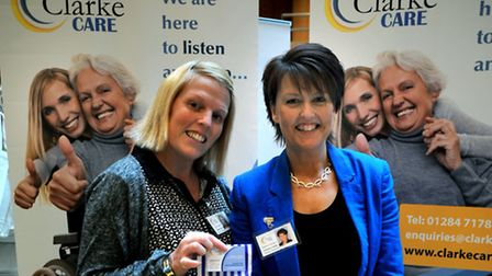 Lorraine Clarke, right, founder of Clarke Care, with colleague Lynsey Coote at this year's Menta Tra