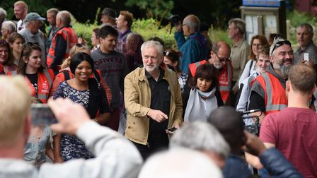Labour leader Jeremy Corbyn at the Burston Strike School Rally march in 2016. Picture: Denise Bradle