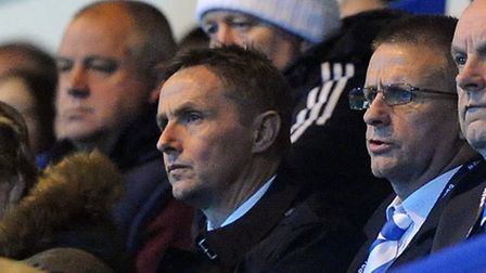 New Colchester United manager Kevin Keen, watching the U's at Rochdale alongside chairman Robbie Cow