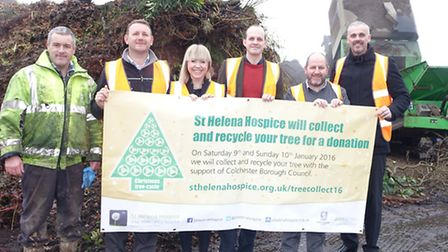 St Helena Hospice launches Christmas tree-cycle 2016 (L-R) Ian Potter, site manager Birch Airfield