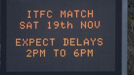 Mis-information on the matrix sign at Warren Heath warning of a football match on the 19th of Novemb