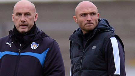 Wayne Brown, right, with John McGreal at Burton on Saturday. Both men are in the running to become t