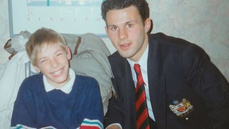 Matt Smith, a huge Manchester United enthusiast, in 1992, when he was thrilled to meet midfielder Ry