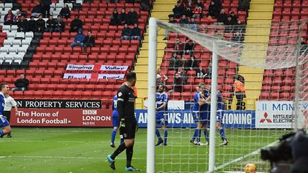 The scene as Daryl Murphy celebrates his second goal at Charlton on Saturday