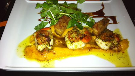 The Rare Cow Sudbury, scallops with pork belly and carrot puree