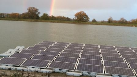 East Green Energy's first floating solar panel installation, on the Raveningham Hall Estate in Norfo