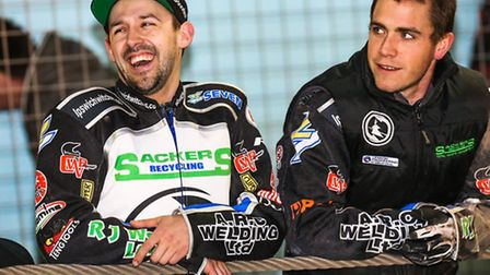 Danny King (left) shares a joke with new Witches team boss Ritchie Hawkins. Photo: STEVE WALLER