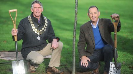 Left to right, Town Mayor, Councillor Barry Salmon and Deputy Mayor Barry Humphreys.