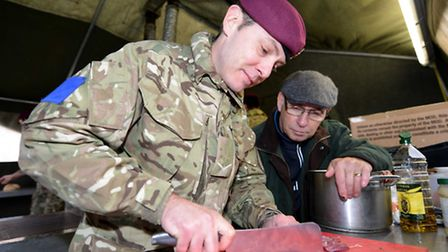 Lance Corporal Kirk Hopkins (34) from Swindon with Geoff Acott, vice president of The Craft Guild of