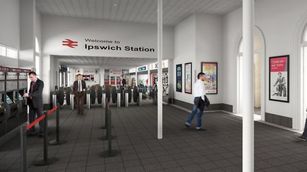 An artists' impression of the new station entrance at Ipswich