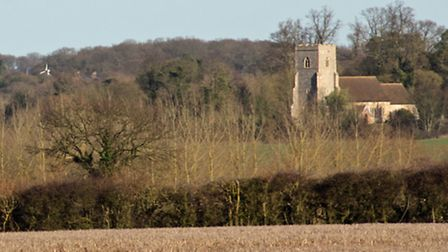 View of Edwardstone church from the field where the proposed solar farm panels would be sited