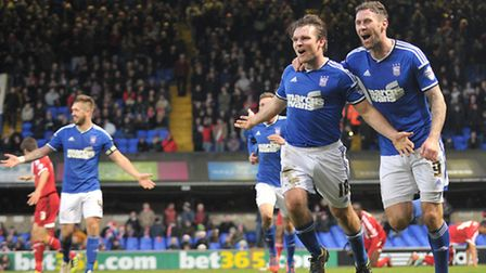 Jay Tabb celebrates his header after giving Ipswich Town a 2-0 lead against Middlesbrough