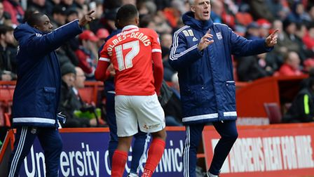 Terry Connor and Mick McCarthy giving out instructions at Charlton on Saturday