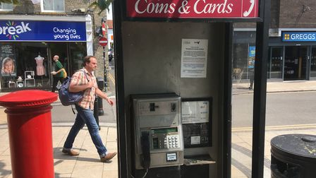 BT is consulting about removing the payphone kiosk at Diss Mere. Picture: Simon Parkin