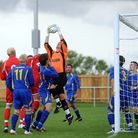 Duncan McAnally in action for Walsham le Willows. He has just signed for Bury Town, and will play in