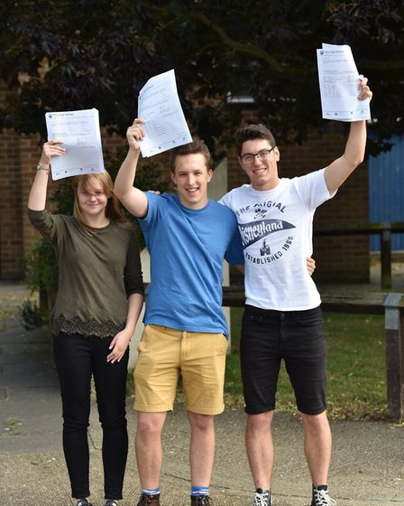 A Level results Diss High School students Caity Adkins, Natty Strange and Will JohnsonByline: Sonya