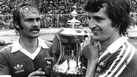 Roger Osborne and Mick Mills after Ipswich won the FA Cup in 1978 PICTURE OWEN HINES