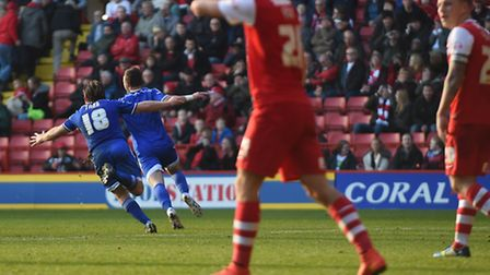 Noel Hunt sets off for the Ipswich bench after scoring Ipswich's injury time winner at Charlton