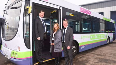 Chris Phillips Essex fleet director for First buses, Belinda Silkstone of Colchester Borough Council