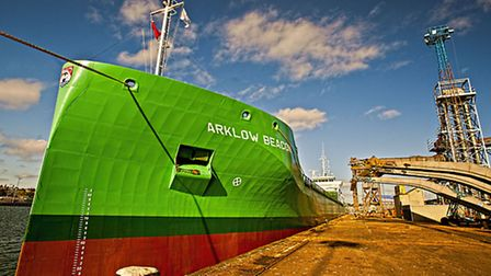 The Arklow Beacon, one of the ships which called at the Port of Ipswich during 2015. Photo: John Fe