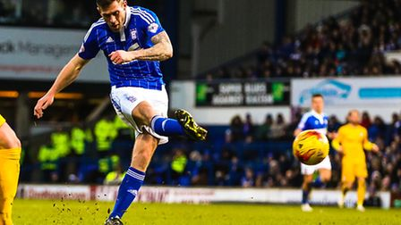 Daryl Murphy shoots for goal but has his effort saved during the second half of the Ipswich Town v P