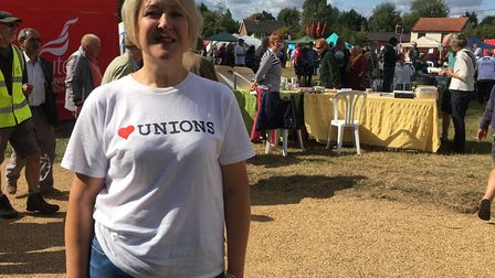 Jo Rust, Secretary of Kings Lynn and District Trades Council at the Burston School Strike Rally. Pho